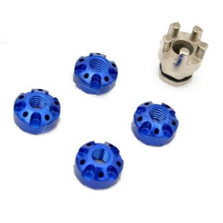RC Car Wheel Aluminium Lock Nuts - Light Blue