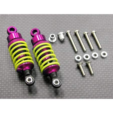 ALLOY BALL TOP DAMPER (55MM) WITH 1.5MM COIL SPRING & ALLOY COLLARS & WASHERS & SCREWS - 1PR SET	 Pink Yellow