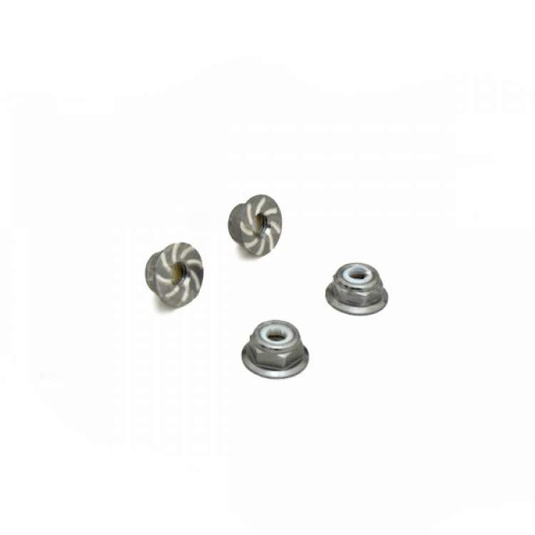 1/10 RC Car 4mm Alloy Anti-Loose Wheel Rim Lock Nut 4pcs - Grey